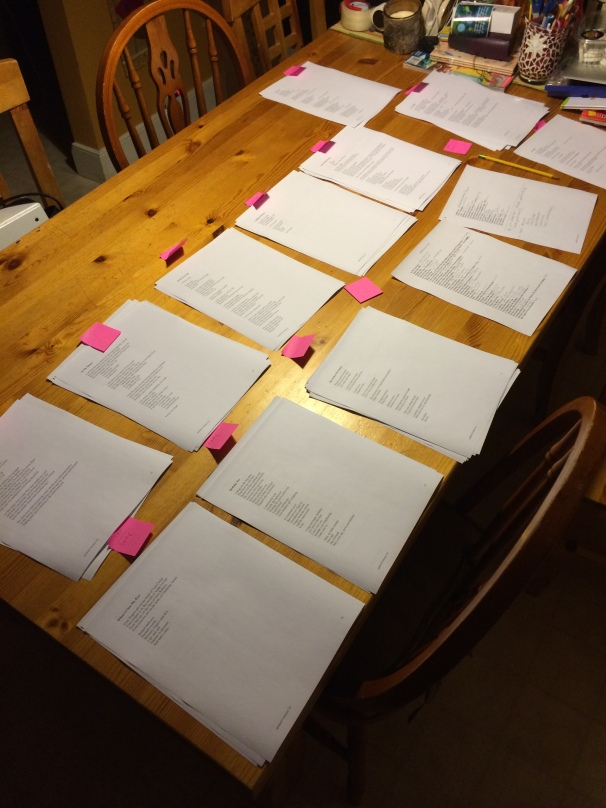 I organized the poems according to category/theme. Once it was all laid out, I had 13 categories.