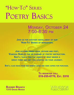 How-To Poetry Workshop Tomorrow! 7pm Budimir Library!